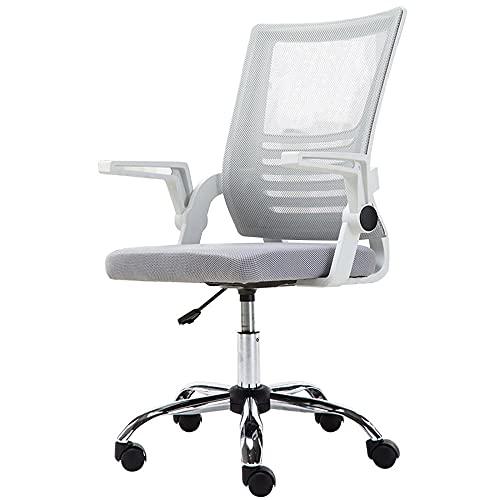 Silla de oficina para el hogar con altura ajustable, silla ergonómica de escritorio con giro de 360°, cómoda silla de malla acolchada para estudio escritorio de computadora de oficina -gris