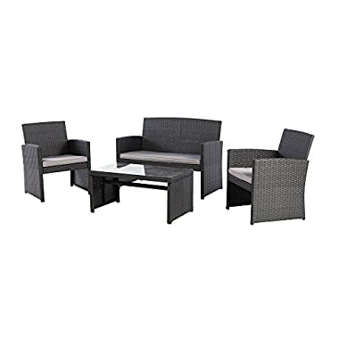 Grand patio Outdoor Furniture Sets, Wicker Conversation Set with Glass Top Table (4-Piece Set)