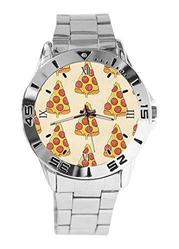 Armbanduhr mit Pizza-Druck, Quarzuhrwerk, silberfarbenes Zifferblatt, klassisches Edelstahlband, für Damen und Herren