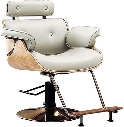 Sillón de barbero reclinable hidráulico para todo uso, sillón de peluquero para salón de peluquería, sillón de peluquero hidráulico de moda, equipo de champú para salón de belleza y spa (gris claro)