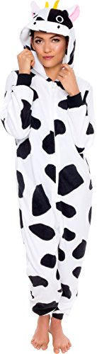 Silver Lilly Slim Fit Animal Pajamas - Adult One Piece Cosplay Cow Costume (Black/White, Medium)