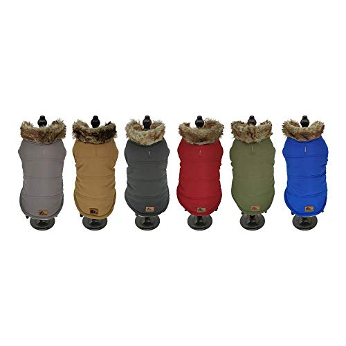 BRAVO. Abrigo para Perro. Chaqueta Impermeable con Capucha y Forro Interior de algodón Suave y cálido para Perros pequeños, medianos y Grandes. (Talla S,M,L,XL) (Talla S, Gris Oscuro)