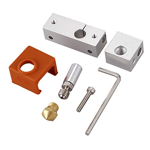 ACAMPTAR 3D Printer Extruder All Metal Hotend Mk10 Nozzle Heating Block Brass Nozzle for Wanhao I3 Plus