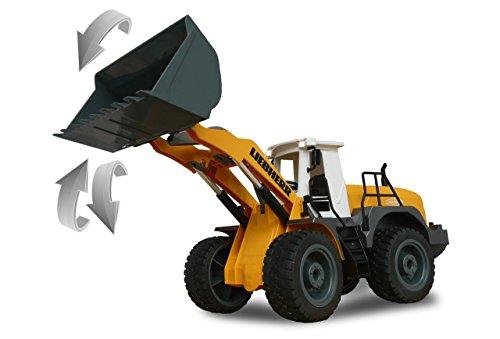 RC Auto kaufen Baufahrzeug Bild 2: Jamara 405007 - Radlader Liebherr 564 1:20 2,4G - Schaufel heben / senken / abkippen, realistischer Motorsound (abschaltbar), programmierbare Funktionen, Blinker, Autoabschaltfunktion, 2 Radantrieb*