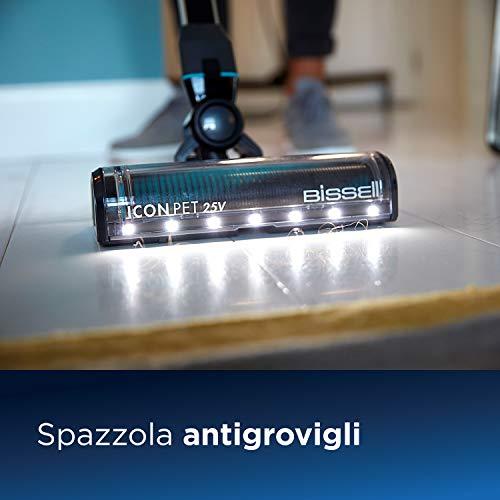 Bissell Icon Pet, Aspirapolvere 3-in-1 Senza Fili, Spazzola Rotante Antigrovigli, 25 V, con Accessori per Animali, 2602D