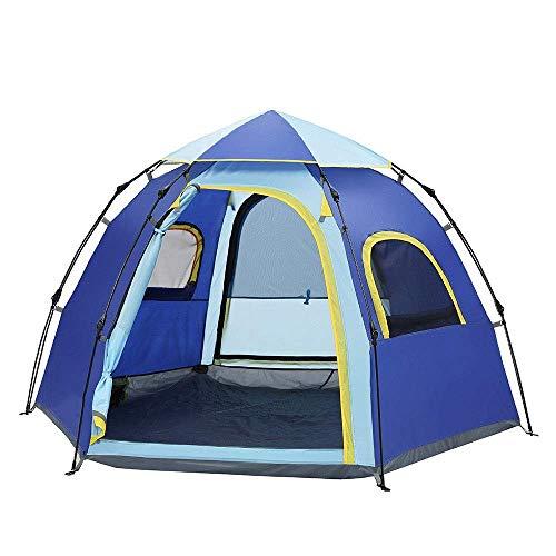 Equipo para acampar Tienda para acampar Tienda para acampar Tienda automática para exteriores 5-6 personas Ocio hexagonal Ajuste rápido y bolsa de transporte Senderismo Montañismo Viajes (Color: Az