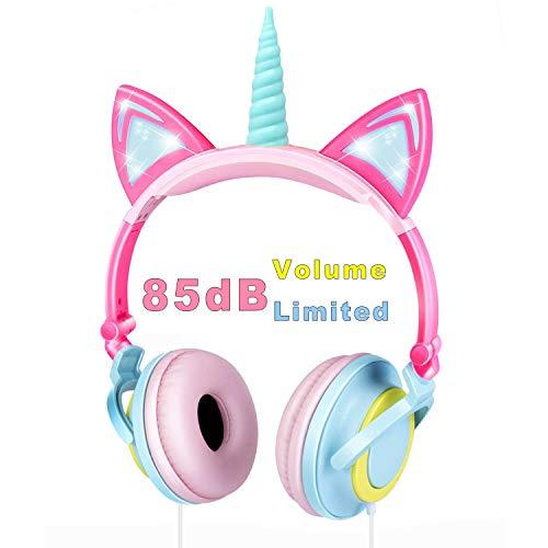 VERORAS Einhorn Kinder Kopfhörer, Leuchtende Katze Ohr LED-Kopfhörer am/über dem Ohr, Wired, Adjustable, Faltbares, 85dB Volume Limited (Spiral Einhorn)