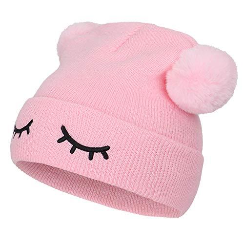 TININNA Chapeau d'hiver Toddler Bonnet en Laine Chaud Bébé Capuchon Tricoté Casquette Pom Pom Hat Cap pour Enfants Garçons Filles Rose