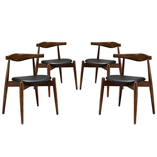 Modway Stalwart Mid-Century Modern Faux Leather Upholstered Four Dining Chairs in Dark Walnut Black