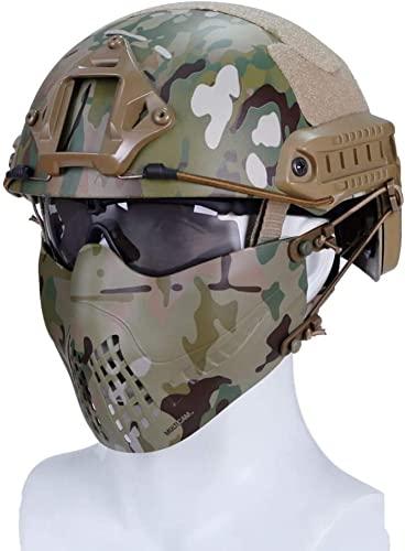 Fast Base Jump MH Airsoft Helme Doble cinturón Media máscara de Malla y Gafas Protectoras UV Combinación de Juego Utilizado para Entrenamiento Militar Caza Disparos CS Juego de Guerra Realista