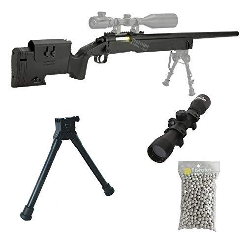 Airsoft Paquete Completo con Accesorios - Arma para Airsoft, Double Eagle Modelo M62 Sniper, con Resorte, 0,5 Julios, Colore Nero, Recarga Manual