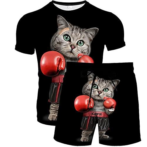 Conjuntos de Chándal para Hombre Conjunto de Ropa Deportiva con Estampado 3D Camisetas Tops y Pantalones Cortos de Manga Corta para Verano Loungewear Gato Divertido 3XL