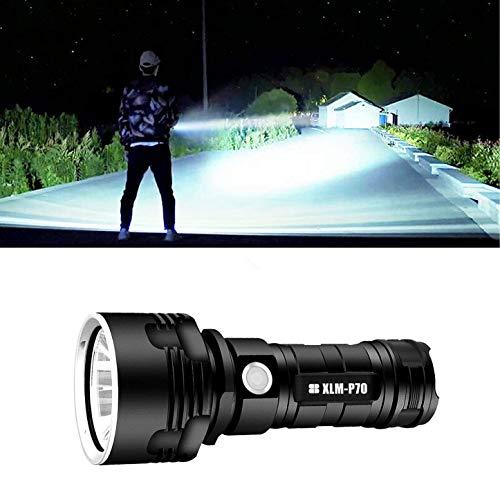 Linterna LED impermeable de alta potencia de 30000-100000 lúmenes, linternas LED portátiles ultrabrillantes de mano (P70 50W con batería)