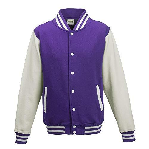Just Hoods - Unisex College Jacke 'Varsity Jacket' BITTE DIE JH043 BESTELLEN! Gr. - XS - Purple/White