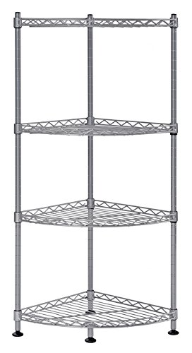 """Muscle Rack WSCR121235-4S 4-Shelf Steel Wire Corner Shelving Unit, 12"""" Width x 35"""" Height x 12"""" Depth,"""