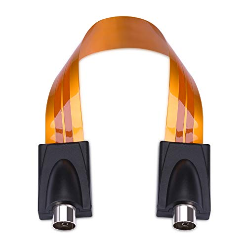 kwmobile Türdurchführung für TV Kabel - 0,24mm Antennenkabel Kabeldurchführung - 17cm Tür Flachkabel - Koaxialkabel Durchführung flach - Orange
