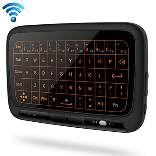 Mini Wireless Keyboard H18 + 2,4 GHz Mini Wireless Keyboard Volledige Touchpad met 3 standen instelbare achtergrondverlichting (zwart) Bluetooth toetsenbord en muis