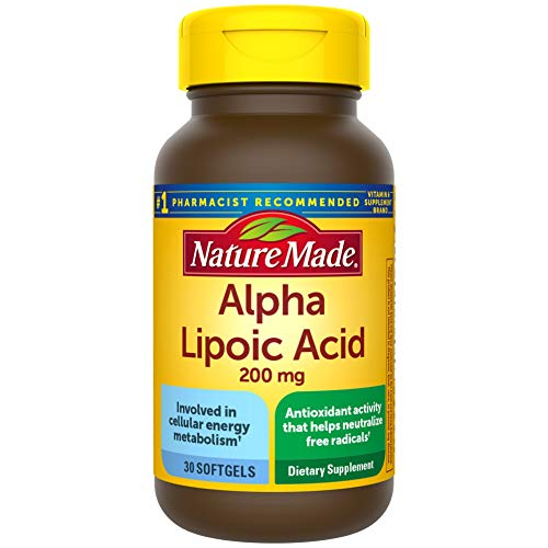Nature Made Alpha Lipoic Acid 200mg Softgels, 30 Count for Antioxidant Support