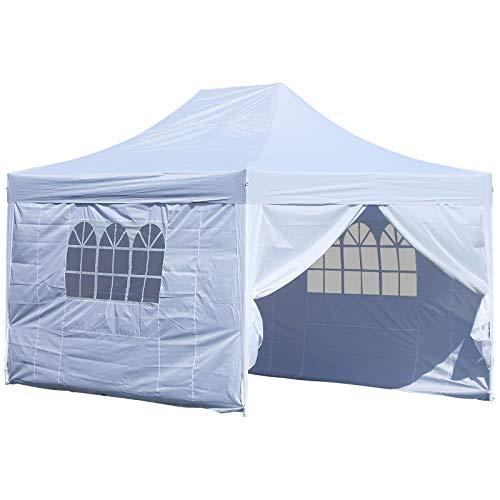 HOMCOM Outsunny® 3x4,5m Faltpavillon Pavillon Faltzelt Partyzelt Gartenzelt Weiß NEU