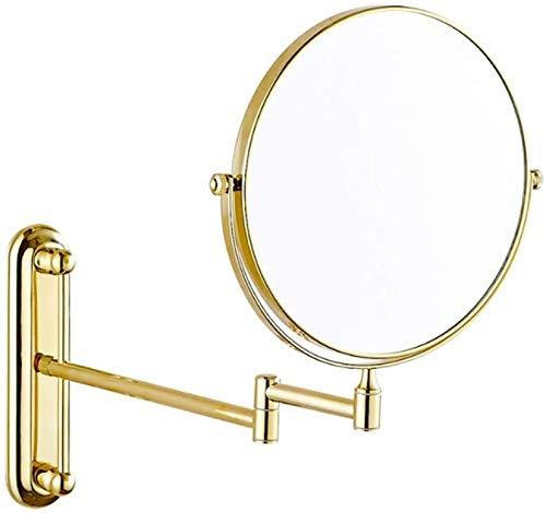 Wandspiegel, 5-fach Vergrößerungsspiegel Badezimmerspiegel 360-Grad-Drehung erweitern Rasierspiegel im Schlafzimmer oder im Bad sein können,Gold