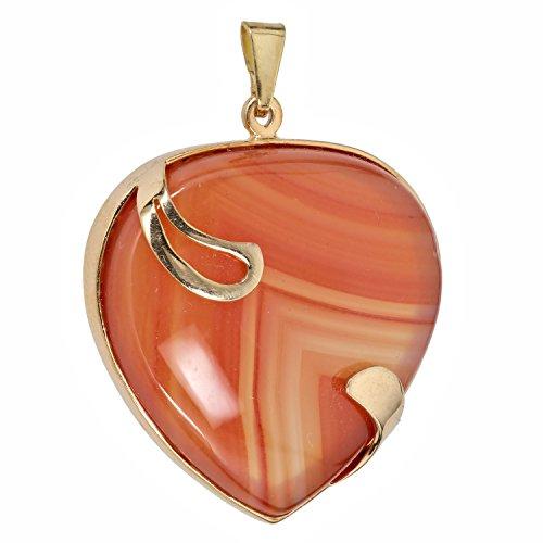 Mujer Colgante Cadena Colgante Corazón Oro Amarillo 333(8karat) Ágata Naranja