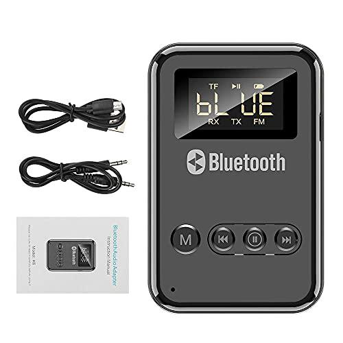 Transmissor e receptor Bluetooth 5.0, adaptador de áudio sem fio ótico digital USB de 3,5 mm para TV/sistema estéreo doméstico, adaptador de carro de baixa latência