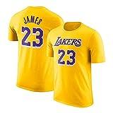 MMQQL Jersey, Lakers # 23 James NBA Ronda de algodón de Manga Corta Cuello de la Camiseta de los Hombres, Adolescente Flojo Retro Corto Deportes Jersey,Amarillo,M