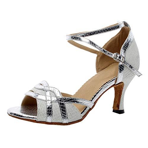 Naudamp Donna Glitter Flare Tacco Elegante Latino Scarpe da Ballo Salsa da Ballo Partito Scarpe