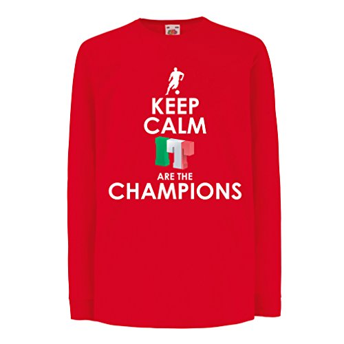 Niños/Niñas Camiseta Los Italianos Son los campeones, el Campeonato de Rusia 2018, la Copa del Mundo de fútbol, el Equipo de Aficionados de Italia (9-11 Years Rojo Multicolor)