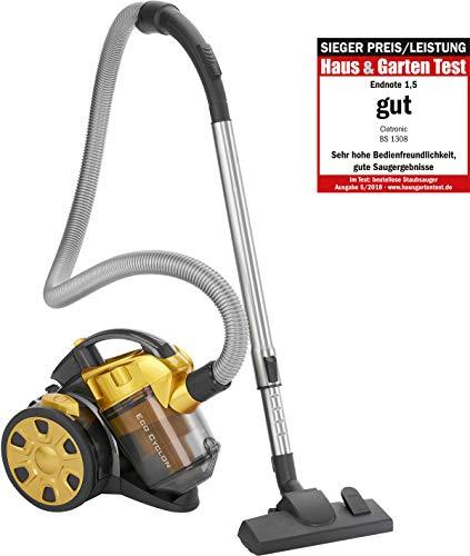 Clatronic BS 1308 Eco-Cyclon Twin-Spin Bodenstaubsauger, beutellose Filtertechnik, Hoch-Effizienz-Partikel-Luftfilter, Metall-Teleskoprohr gelb