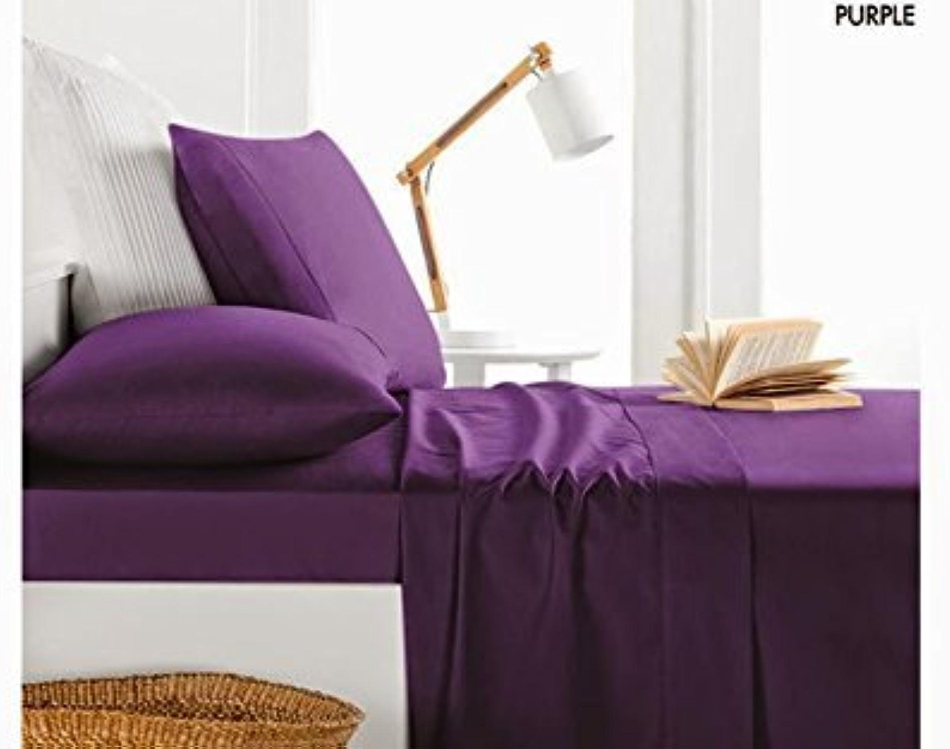 Dreamz étui Parure de lit en coton égypcravaten Ultra doux 450fils Parure de lit 5pièces pour long, violet 100% coton 450tc massif Parure de lit simple