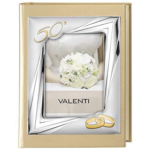 Valenti Argenti Album Portafoto 50° Anniversario Nozze Oro Foto Copertina cm 13x18