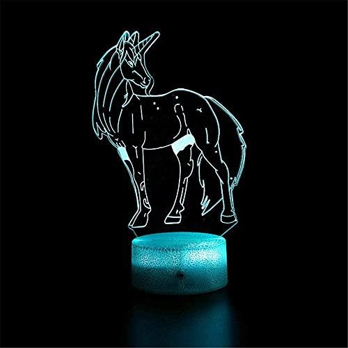 GEZHF Lámpara de mesa 3D ilusión 16 colores cambiantes luz nocturna con control remoto regalo de cumpleaños para niños - M