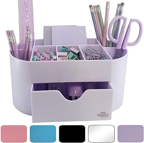 Acrylic Desk Organizer for Office Supplies and Desk Accessories Pen Holder Office Organization Desktop Organizer for Room College Dorm Home School, Light Purple (White Lavender)