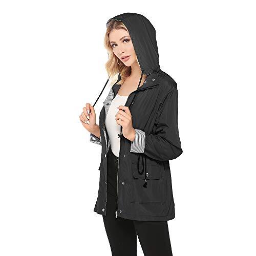 Bedee DamenRegenmantel Wasserdicht  Regenjacke Mit Kapuze, Schwarz, Gr.- EU:38 - 40/ Etikettengröße- M