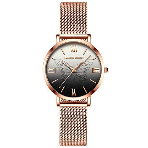 Hannah Martin Japón Relojes de Cuarzo para Mujer, a Prueba de Agua, con Oro Rosado, Malla de Acero Inoxidable, Reloj de Pulsera con Mariposa (Negro)