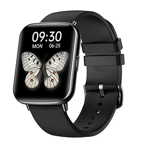 FMSBSC Smartwatch Mujer Hombre Reloj Inteligente Monitor De Sueño Pulsómetros, 24 Modos Deportivos Fitness Tracker,Negro