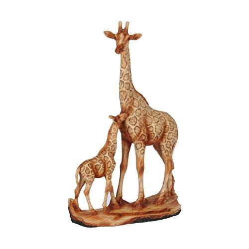 Adorno de jirafa y bebé efecto madera