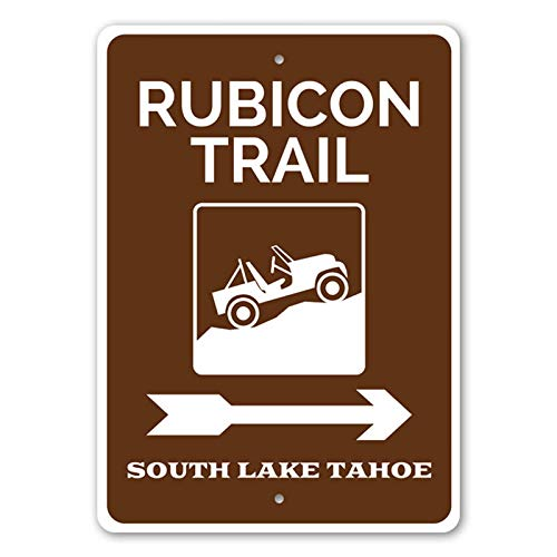 Rubicon Trail, South Lake Tahoe This Way Cabin Decor, Lake Tahoe Trail Sign, Hiking Guide Aluminum Sign - 10