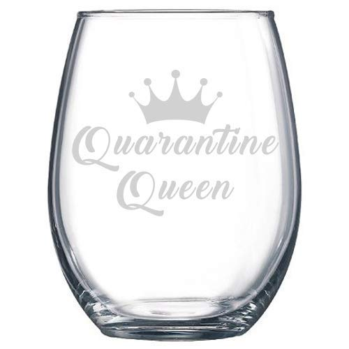 Social Distancing Quarantine Queen Stemless Wine Glass- Gift for Friend/Funny Cute Wine Glass/Fun Wine Glass/Wine Lover Gift/Social Distancing Gift