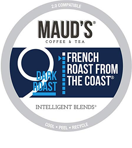 Maud's French Roast Coffee, (French Roast from The Coast), 100ct. Recyclable Single Serve Coffee Pods – Richly satisfying arabica beans California Roasted, k-cup compatible including 2.0