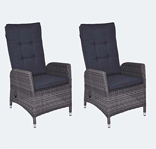 lifestyle4living Verstellbares Gartensessel-Set aus Rattan in Grau, Wetterfester Sessel inklusive Auflage bringt hohen Sitzkomfort an den Gartentisch