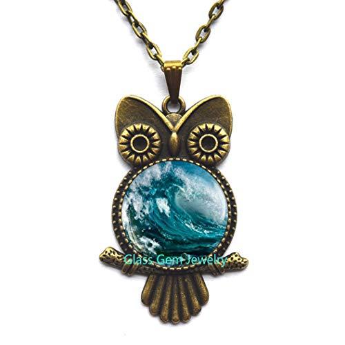Collar de búho con onda del océano, colgante de onda del océano, collar de búho de onda de agua, collar de búho, collar de surf, deportes acuáticos, regalos para surfistas, tabla de surf, Q0044