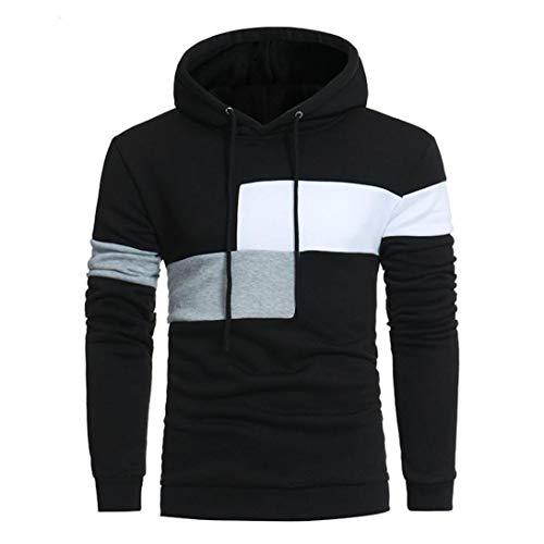 Sweat à Capuche Hommes Couture Hommes Couleur Manteau à Manches Spécial Style Longues Veste Sport Tops Outwear Greatestpak Tops (Color : Schwarz, Size : L)