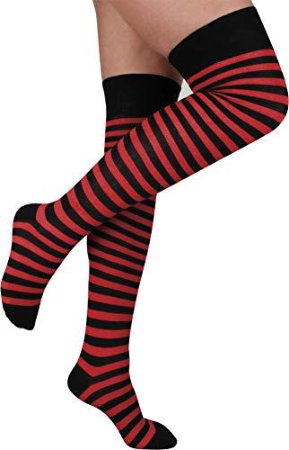 normani 2 Paar Overknees in gestreift oder einfarbig - Bunte Socken bis übers Knie für Damen Farbe Schwarz/Rot schmal
