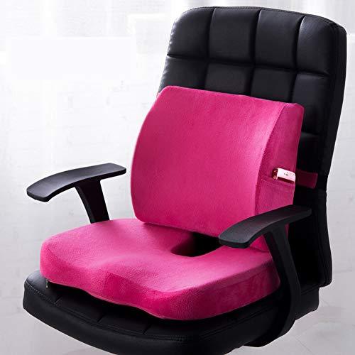 XuBa set rugkussens voor gebruik thuis in de auto (Mise à niveau) Siège + dossier Suede-rose rouge
