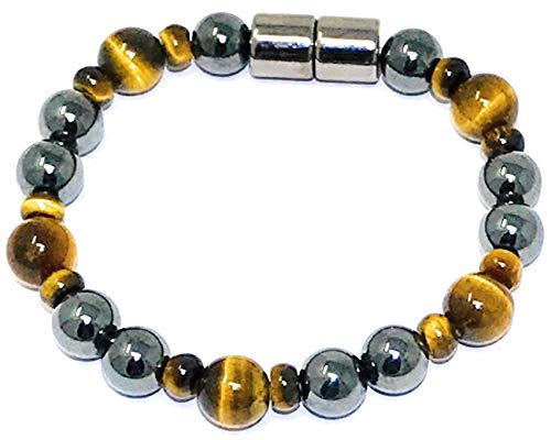 HIGHPOWER Magnetic Hematite/Tiger's Eye Bracelet for Natural Pain Relief and Weight Loss (6.5 inch)
