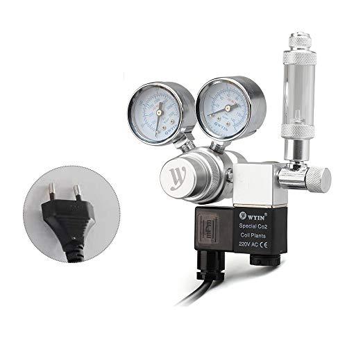 Decdeal Aquarium CO2 drukregelaar CO2 met grote dubbele manometer, magneetventiel en blaasteller