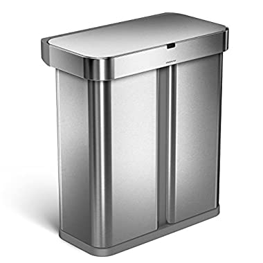 simplehuman 58 Liter/15.3 Gallon Stainless Steel Touch-Free Dual Compartment Rectangular Kitchen Trash Can Recycler Motion Sensor, Voice Activated, Brushed Stainless Steel