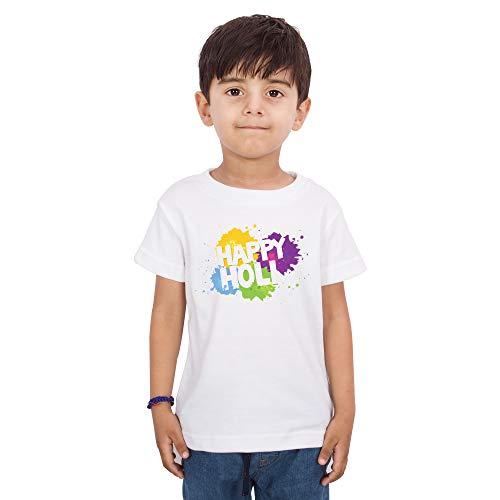 LIMIT Fashion Store - Happy Holi Printed Colorful Design Printed Kids T-Shirt for Boys & Girls Kids Casual Wear (9-10 Years) White